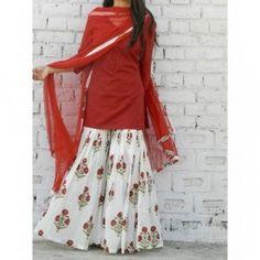 Sharara set - red color block