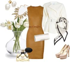 """""""Caramel x White Sophisticated Style"""" by sachiko-otohata on Polyvore"""