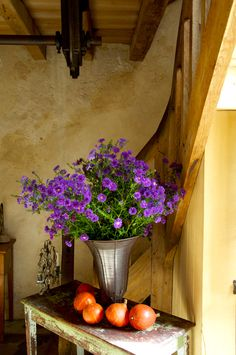 Lovely fall arrangement in our entryway. — at Le Moulin Bregeon. Vibeke Design, Fall Arrangements, Practical Magic, Entry Foyer, All Things Purple, French Country Style, Le Moulin, Rustic Charm, Dried Flowers