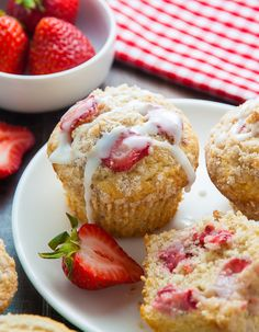 Strawberry Crumb Muffins ~ Sweet and supremely moist Strawberry Crumb Muffins! A summertime favorite.