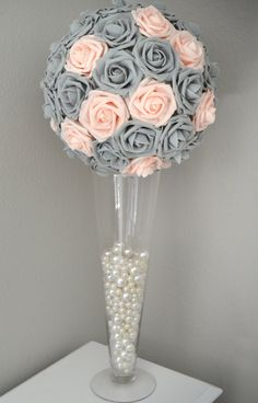 PINK BLUSH & GRAY Kissing Ball. Wedding by KimeeKouture on Etsy