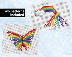 Rainbow and butterfly cross stitch patterns, rainbow counted cross stitch card…