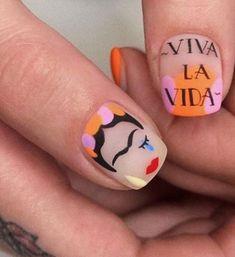 Nail art with quote Nail Design Stiletto, Nail Design Glitter, Nails Design, Stylish Nails, Trendy Nails, Minimalist Nails, Short Nail Designs, Get Nails, Perfect Nails