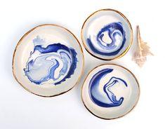 ANTARCTIC - Ocean Jewellery Bowl - Blue Marbling - Copper Lustre Rim - White Stoneware - Made to Order - Free Postage Australia Wide