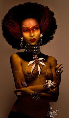 Marriage of Oba Nani and Shango - The Yoruba Religious Concepts Natural Hair Art, Pelo Natural, Natural Beauty, African American Art, African Art, African Beauty, African Fashion, Black Artwork, Afro Art