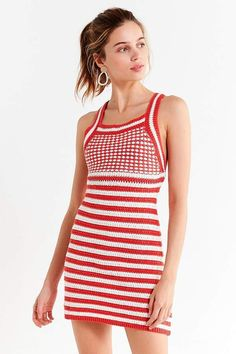 Urban Outfitters UO Maura Striped Crochet Mini Dress