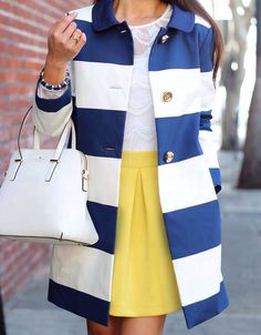 Yellow skirt white lace shirt blue and white stripes coat