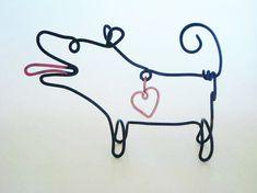 Little Black Wire Dog w/Heart by EleMcKay on Etsy, $18.00
