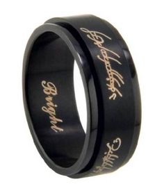 Men's Lord of the Rings Stainless Steel Spinner Ring with Matte Black