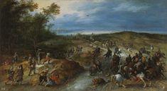 Sorpresa de un convoy, Jan Brueghel el Joven y Sebastian Vrancx. Óleo sobre tabla, 48 x 86 cm