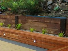 wooden retaining wall design ideas modern landscape Garden