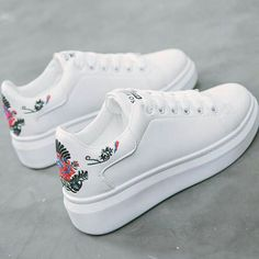 Women sneakers on the platform Embroider white designer sneakers for women heigh. Women sneakers on the platform Embroider white designer sneakers for women height increasing vulcanize shoes women. Sneakers Mode, Girls Sneakers, Wedge Sneakers, Casual Sneakers, Girls Shoes, Sneakers Fashion, Casual Shoes, Shoes Sneakers, Ladies Shoes