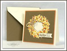 Stampin' Up! ... handmade card ... Autumn theme ... Wondrous Wreath in golds and rust ... luv the big dot embossing folder texture in brown on the card background and vanilla on the envelope flap ... like the finish look ...