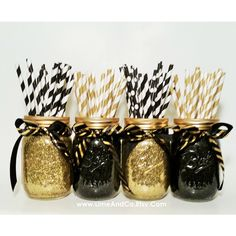 Mason Jar Centerpieces, Wedding Centerpieces, Graduation Party... (2,040 DOP) ❤ liked on Polyvore featuring home, home decor, gold home decor, black centerpieces, black jar, birthday centerpieces and gold home accessories
