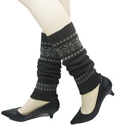 leg warmer stripe socks Ladies Women Girl  leggings fancy winter knitted Crochet