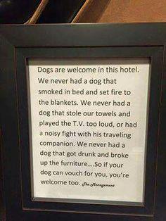 Hotel Dog Sign
