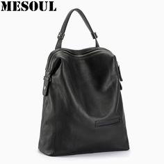 Black Fashion Backpack Women Backpacks Real Leather School Bags For Girls Travel  Shoulder Bag Female High 90469367afab5