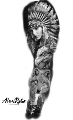 Lion Tattoo Sleeves, Wolf Tattoo Sleeve, Full Sleeve Tattoo Design, Lion Tattoo Design, Best Sleeve Tattoos, Hand Tattoos, Native American Drawing, Native American Tattoos, Native Tattoos