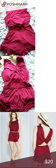 NWOT BURGUNDY ATRETCH OPEN BACK ROMPER JUMPSUIT GORGEOUS TWISTBACK  ROMPER WILL LOOK GREAT WITH SANDALS, HEELS OR EVEN THIGH HIGH BOOTS. RAYON,SPANDEX PATTERN:SOLID. PACK WITH LOVE AND CARE.  NO TRADES THANKS.  VERY OPEN TO REASONABLE OFFERS.  THANKS FOR CHECKING OUT MY CLOSET. CONTEMPO CASUALS Other