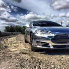 Chrome Wrap on a Tesla Model S | Aftermarket Accessories for Tesla Model S