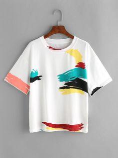 e9f9fa5f White Graffiti Print T-Shirt Stiles, Fashion Styles, Women's Fashion  Dresses, Color