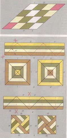 Assembling the triangular pieces and use them in patchwork blocks (bottom) Patchwork Quilting, Seminole Patchwork, Jellyroll Quilts, Patchwork Patterns, Quilt Block Patterns, Pattern Blocks, Colchas Quilt, Patch Quilt, Quilt Blocks