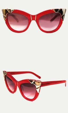 Hand-sculpted gold detail and a rich burgundy hue make this glamorous style a standout pair. Wear these statement sunglasses all season to add color to any outfit.