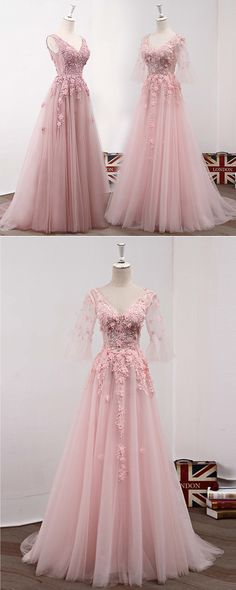 Pink tulle long sweet16 prom dress with short sleeves