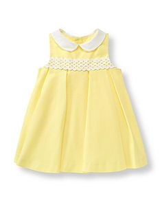 Baby Girl Lemon Pique Eyelet Dress at JanieandJack