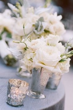 home decorating with white roses | Mercury Glass vase with white roses (LOVE!) | Home Decor ideas