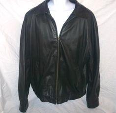 Perry Ellis Portfolio Black Leather Jacket Heavy Duty zipper front  #PerryEllis #BasicJacket
