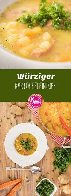 Ein One-Pot-Rezept für kalte Tage: der Kartoffeleintopf ist im Handumdrehen aus… A one-pot recipe for cold days: the potato stew is instantly made from simple ingredients. He receives a special note by the Wursteinlage, which can also be omitted at will. Lacto Vegetarian Diet, Vegetarian Recipes, Raw Food Recipes, Pasta Recipes, Soy Meat, Stewed Potatoes, One Pot Pasta, Different Recipes, One Pot Meals