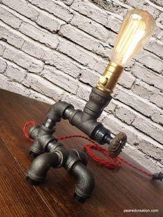 Edison Light Plumbing Pipe Lamp Steam Punk by newwineoldbottles, $185.00