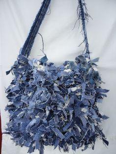 Shabby Chic Denim Rag Fabric Strip Hobo Sexy Cool Funky Crochet USA | customized4Y - Bags & Purses on ArtFire
