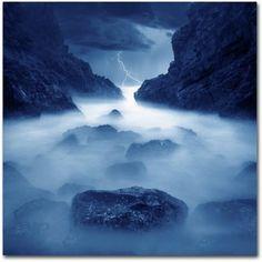 Trademark Fine Art Tormenta en Ixtapa Blue Canvas Art by Moises Levy, Size: 35 x 35, Blue