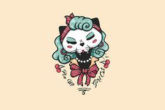Pin up Cat Black Cat Ganbatte Illustration