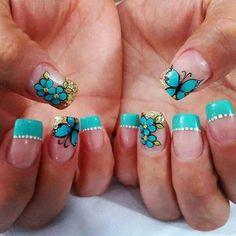 Cute Nail Art, Cute Nails, My Nails, Daisy Nails, Simple Nails, Nail Designs, Hair Beauty, Turquoise, Beautiful