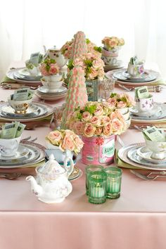 Tea for Two! Host a fun 'n' fancy tea-party themed baby shower for the expectant mom and her baby. on Partyology Tea Party Baby Shower, Baby Shower Themes, Baby Shower Decorations, Shower Ideas, Bridal Shower, Shabby Chic Shower, Tea Party Table, Afternoon Tea Parties, Girl Shower