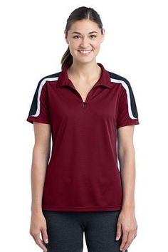 2ff56f74f Write a splendid history in your sports duration with a polo that explodes  with stripes and mesh insets. Sport-Tek YST658 - Ladies Tricolor Shoulder  ...