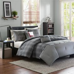 Gray and white plaid bedding