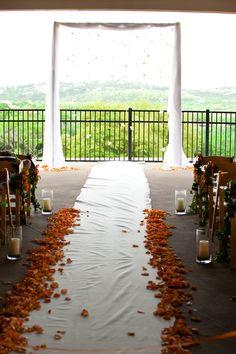 Wedding Inspiration & Ideas. Wedding ceremony decor with floating flower design.
