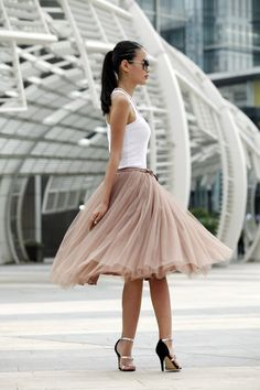Tulle Skirt Tea length Tutu Skirt Elastic Waist by Sophiaclothing