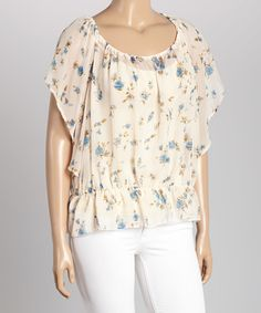 Loving this Ivory & Blue Floral Flutter-Sleeve Top - Plus on #zulily! #zulilyfinds