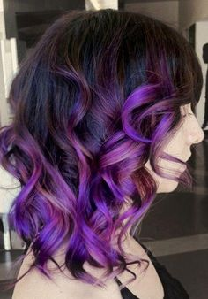 cute curly purple hair. Id like it either like this or with dark blue