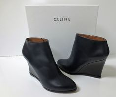CELINE Navy Leather and Black Wedge Ankle Boots Shoes Sz 39 NEW IN BOX $1100 #Celine #AnkleBoots