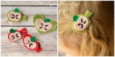 A no-sew project! Apple Felt Hair Clips from It Happens in a Blink #backtoschool #apples
