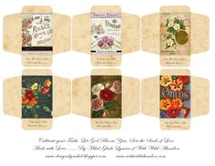 Miniature seed packets for the dollhouse garden | Source: With Wild Abandon