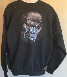 Gorilla Sweatshirt Silverback Gorilla Face Hanes Heavyweight Black Adult Large #Hanes #Sweatshirt
