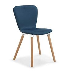 Chaise design scandinave bleu pétrole