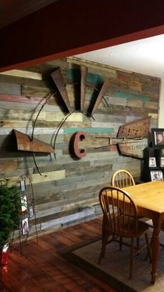 Repurposed windmill wall and looks like the tile wood or maybe real wood. I love the windmill though! Western Decor, Country Decor, Rustic Decor, Rustic Farmhouse, Farmhouse Style, Farmhouse Ideas, Aspen, Windmill Wall Decor, The Ranch